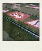 Stock Photo of Warning signs at tramway