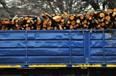 Wooden logs on logging truck trailer Stock Photos