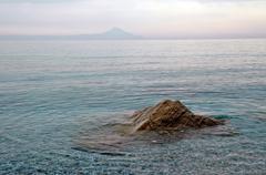 Sea view,  mount athos in the background Stock Photos