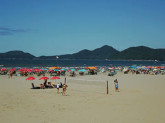 Tourists enjoying a sunny day at Santos Beach, Sao Paulo, Brazil 17 Stock Footage