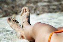 Sexy feet with anklet Stock Photos