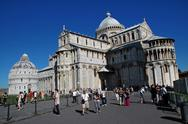 Stock Photo of pisa, italy - august, 30: tourists visit piazza dei miracoli, one of the most