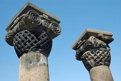 the ruins of zvarnots cathedral, armenia - stock photo