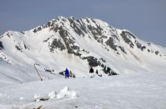 Skiing in the austrian alps Stock Photos