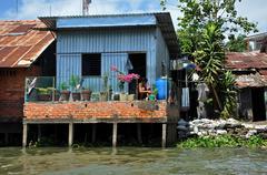 Slum area in the Mekong delta, Vietnam - stock photo