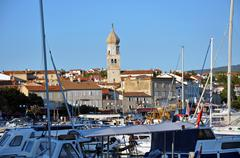 the harbour of krk city, croatia - stock photo