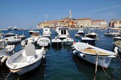 rovinj harbour, croatia - stock photo