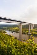 Germany, Koblenz, View of motorway bridge Moselle Viaduct crossing Mosel Valley Stock Photos