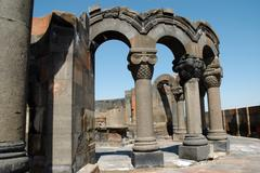 The ruins of zvarnots cathedral, armenia Stock Photos