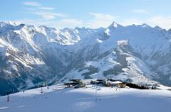 skiing in the austrian alps - stock photo