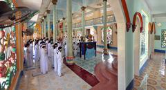 Religious ceremony in a Cao Dai Temple, Vietnam Stock Photos