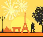 Stock Illustration of eiffel tower and fireworks