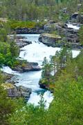 summer mountain river (norge) - stock photo