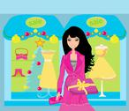Stock Illustration of fashion shopping girl with shopping bags and gift box