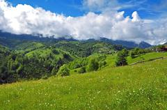 Green hills and a winding valley. Transylvania Stock Photos