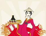 Stock Illustration of beautiful asian girl enjoy sushi - menu template
