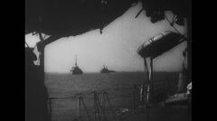 WW2 - US Navy - D Day - Ships 01 - Artillery Firing - stock footage