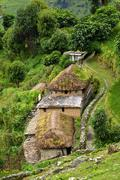 a gurung village in the annapurna sanctuary trail. himalayas, nepal - stock photo