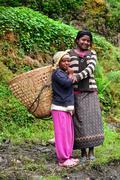 gurung ethnic women in the himalayas - stock photo