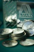 silver bullion - stock photo