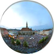 Orthographic panorama projection of a crowded square - stock photo