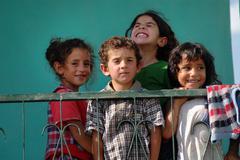 Kurdish children refugees in Turkey Stock Photos