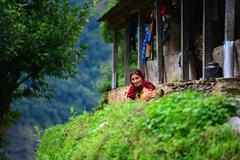 gurung ethnic woman in the himalayas - stock photo