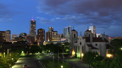 Downtown Denver and Auraria Campus at Nightfall - stock footage