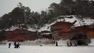 Stock Video Footage of Ice Caves - Apostle Islands - Frozen Lake Superior Winter