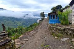 A gurung lodge in the annapurna sanctuary trail. himalayas, nepal Stock Photos