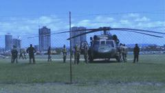 Two army blackhawks on the site Stock Footage