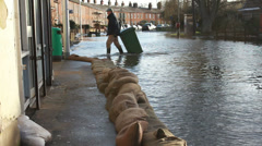 Floods hit an English town - stock footage
