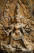 Brass relief, sculpture of Shiva the destroyer. Kathmandu, Durbar square, Nepal - stock photo
