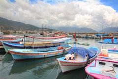 Boats stand at the pier in alanya Stock Photos