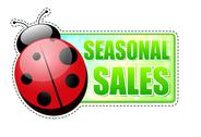 Stock Illustration of seasonal sales green spring label with ladybird