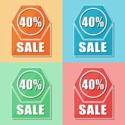 40 percentages sale, four colors web icons Stock Illustration