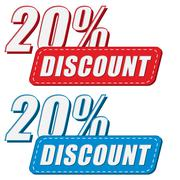 20 percentages discount in two colors labels, flat design - stock illustration