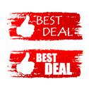 Stock Illustration of best deal with thumb up sign, red drawn labels