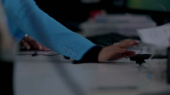 Female hand using computer mouse and ballpoint pen - stock footage