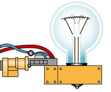 electric lamp on a support - stock illustration