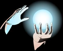 Hands and magic sphere Stock Illustration