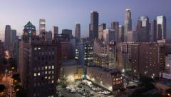 Downtown Los Angeles Nightfall Stock Footage