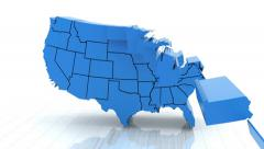 Stock Video Footage of 3d animation of USA map, loop with alpha matte for compositing