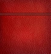 red leather background with red leather strip. vector illustration. - stock illustration