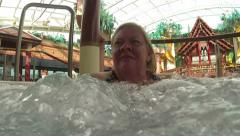 Woman in hot tub spa bubbles cruise ship HD 0250 Stock Footage