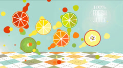 100% Fresh Juice. Fruit drops animated. Stock Footage