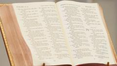 Bible on altar in church - stock footage