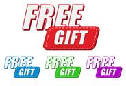 Stock Illustration of free gift, four colors labels