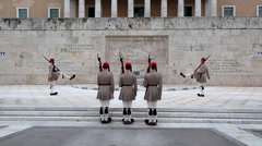 Greek national guards (Evzones) near building of Parliament in Athens Stock Footage