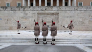 Stock Video Footage of Greek national guards (Evzones) near building of Parliament in Athens